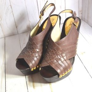 Michael Kors Brown Leather Wedge Shoes Heels